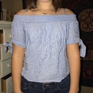 Blue and White Pinstripe Off the Shoulder Top